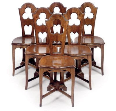 A SET OF SIX FRENCH WALNUT HAL