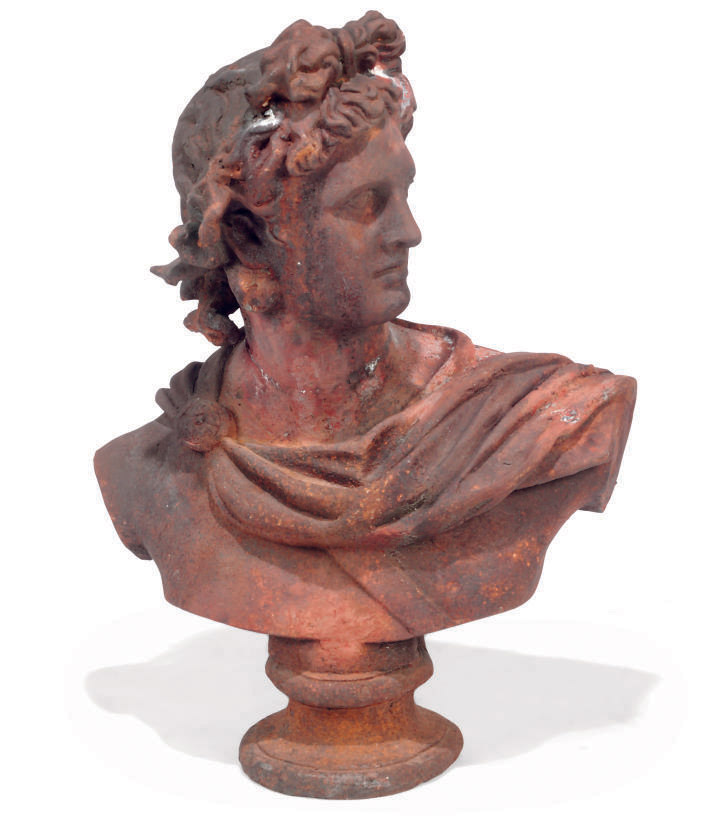 A CAST-IRON BUST OF THE APOLLO