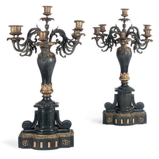 A PAIR OF FRENCH BLACK MARBLE,