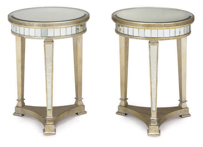 A PAIR OF MODERN SILVERED AND