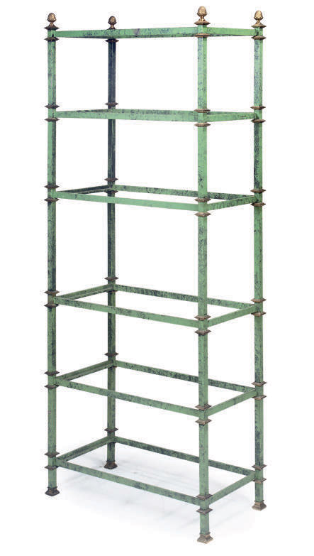 A FRENCH GREEN PAINTED STEEL A