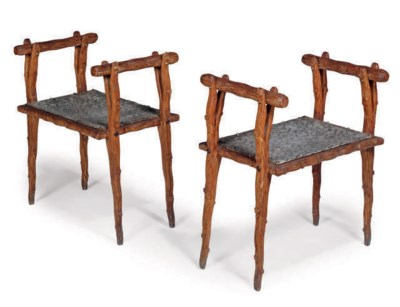A PAIR OF FRENCH BEECH STOOLS