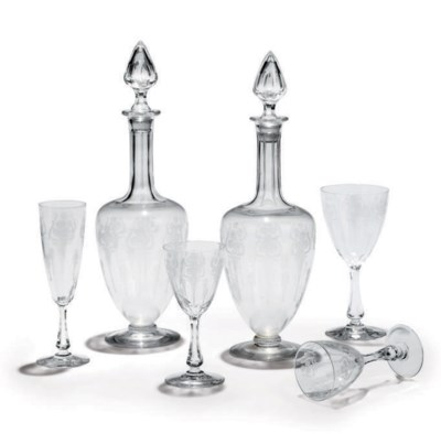 AN ETCHED GLASS PART TABLE-SER