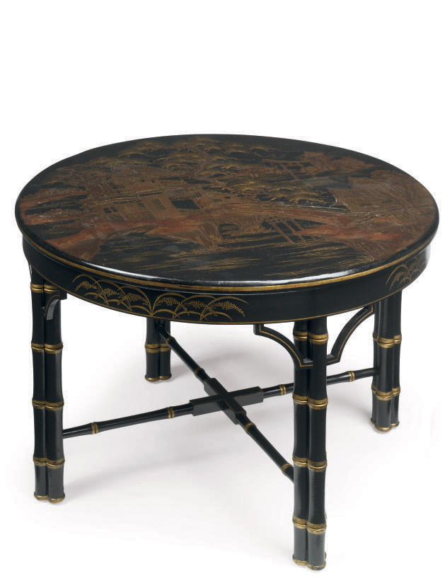 A GILT AND BLACK CHINOISERIE S