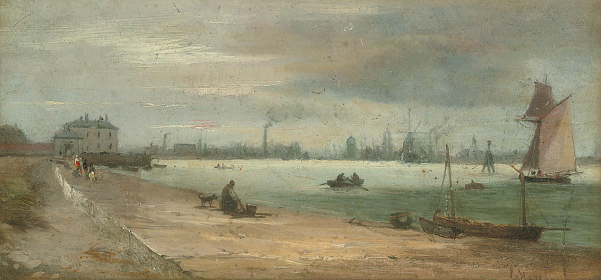 The shore of the river Mersey, Liverpool in the distance