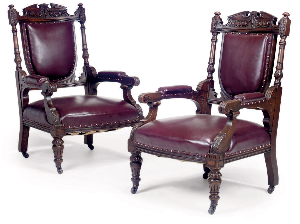 A PAIR OF VICTORIAN CARVED OAK
