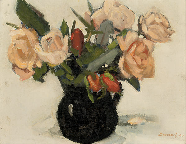 Roses and tulips in a vase; and Assorted roses in a vase, on a table