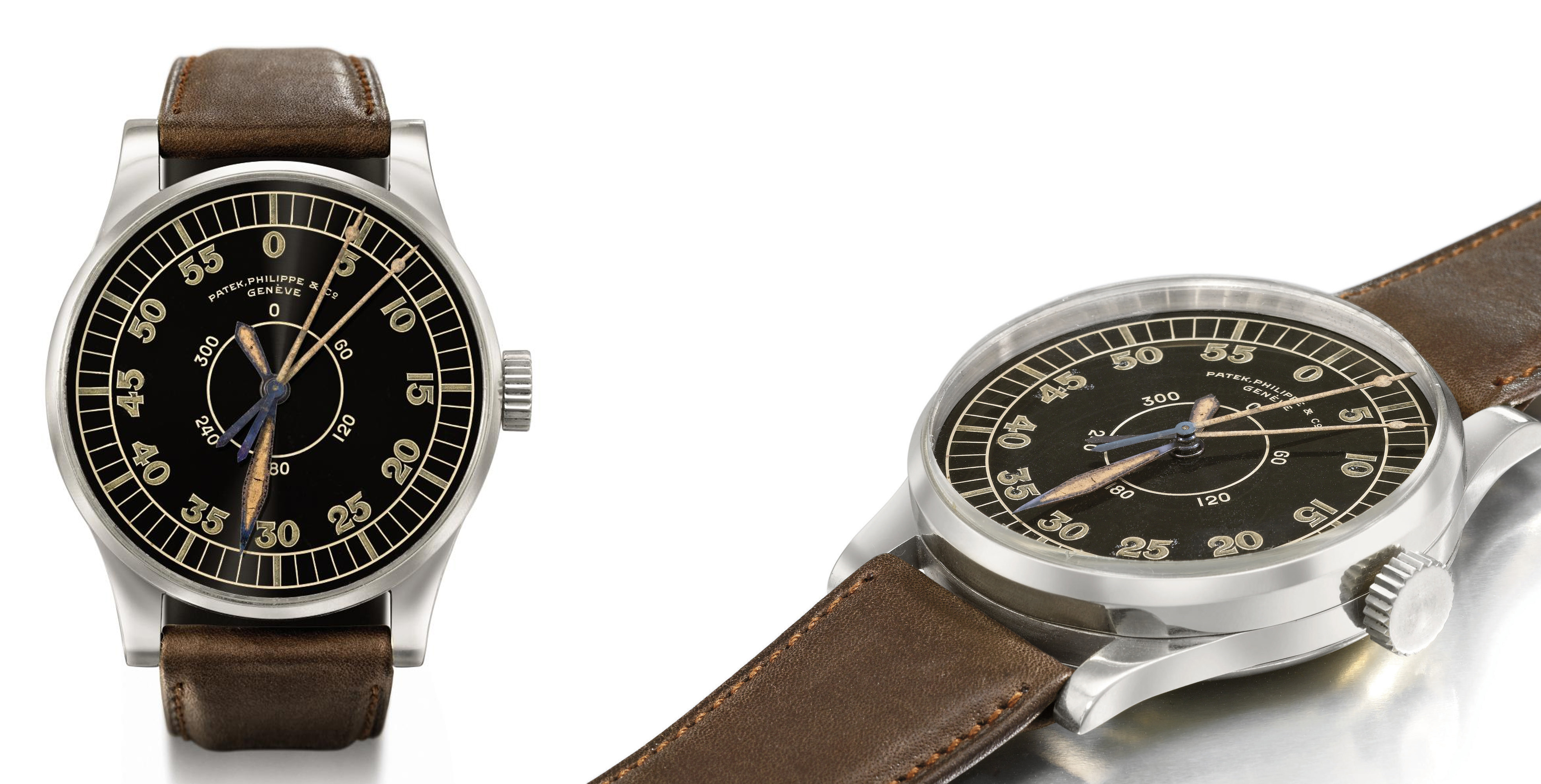 Patek Philippe. An extremely important and probably unique oversize chromed nickel splittable centre seconds aviator prototype wristwatch with Guillaume balance and black hour angle dial calibrated for 360°,