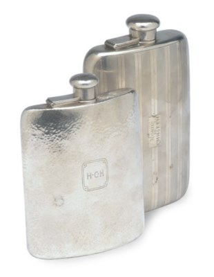 TWO TIFFANY SILVER FLASKS WITH