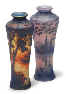 TWO FRENCH CAMEO GLASS LANDSCA