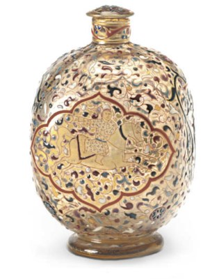 A FRENCH ENAMELED GLASS BOTTLE