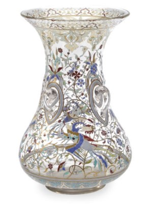 A FRENCH ENAMELED GLASS VASE,