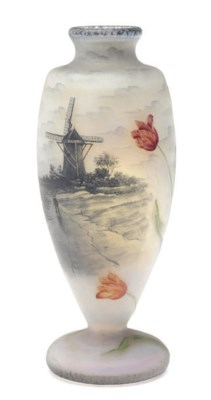A FRENCH ETCHED GLASS VASE ENA