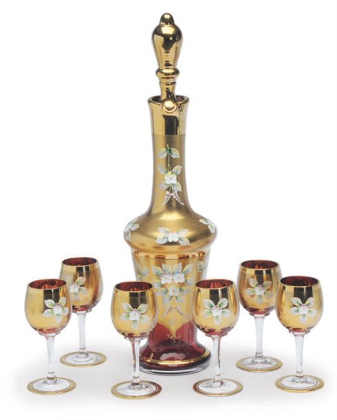A BOHEMIAN GLASS GILT AND ENAM