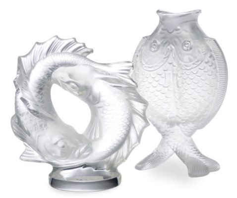 A FRENCH MOLDED GLASS 'TWO FIS