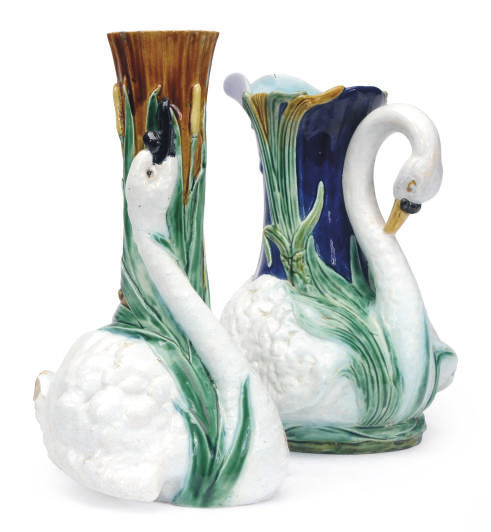 A MAJOLICA SWAN-FORM VASE AND