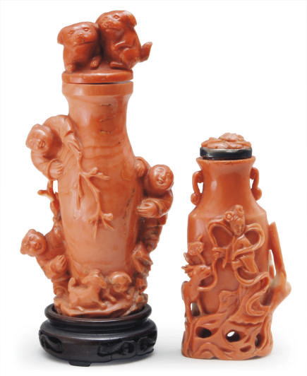 TWO CHINESE CORAL SNUFF BOTTLE