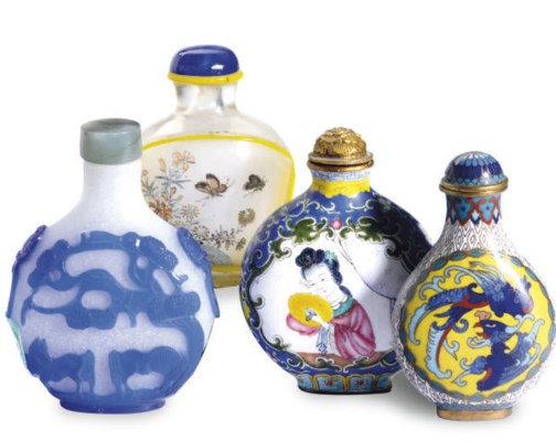 FOUR CHINESE SNUFF BOTTLES,