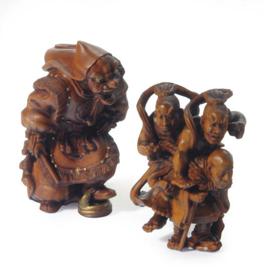 TWO JAPANESE WOOD FIGURE GROUP