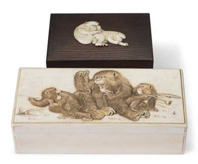 A JAPANESE IVORY BOX AND COVER