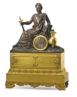 A FRENCH PATINATED AND GILT-BR