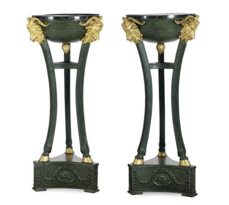 A PAIR OF GEORGE III GREEN AND