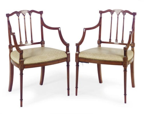 A SET OF FOUR INLAID SATINWOOD