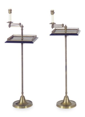 A PAIR OF MAHOGANY AND BRASS F