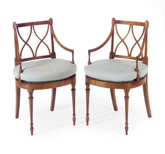 A PAIR OF FRUITWOOD AND CANED