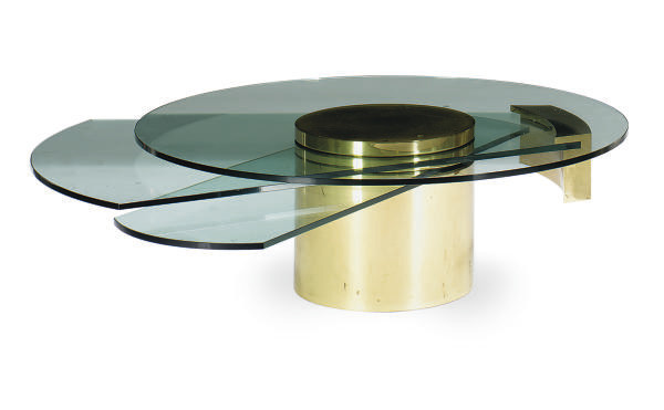 A BRASS AND THREE-TIER GLASS C