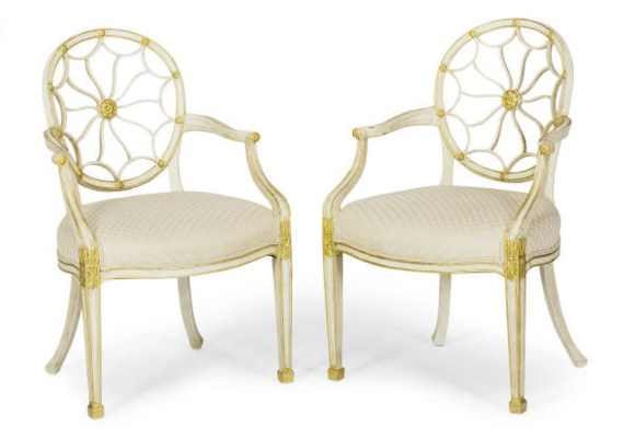 A PAIR OF CREAM-PAINTED AND PA