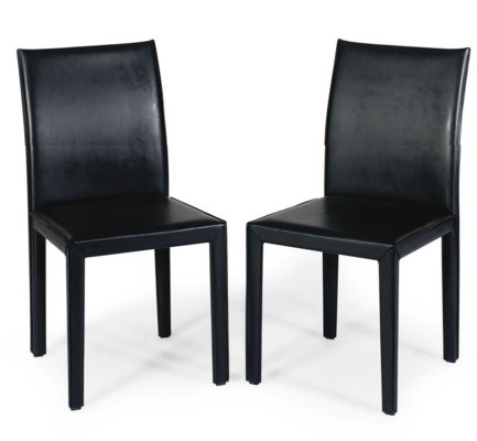 A SET OF EIGHT LEATHER DINING