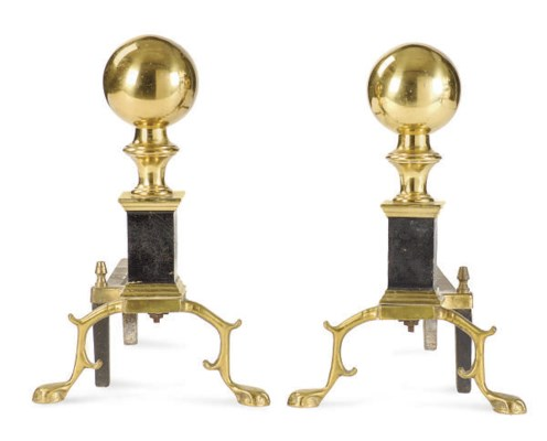 A PAIR OF BRASS AND STEEL ANDI