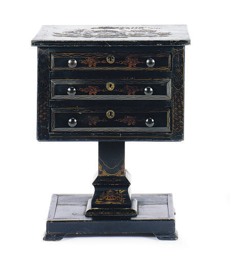 A BLACK AND GILT-JAPANNED WORK