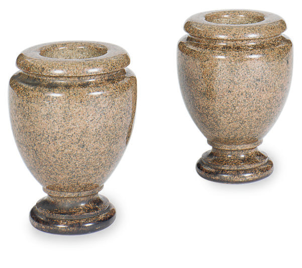A PAIR OF GRANITE VASES,
