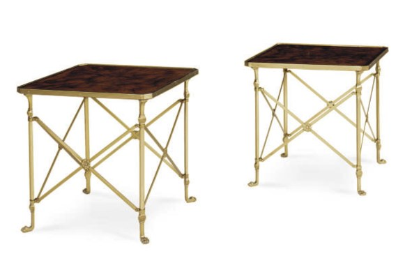 A PAIR OF BRASS AND MAHOGANY S