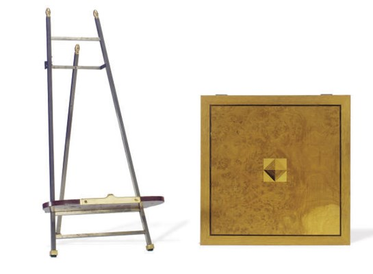 A PARQUETRY BOX AND A STEEL AN