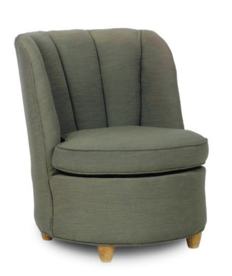 A WALNUT AND UPHOLSTERED SLIPP