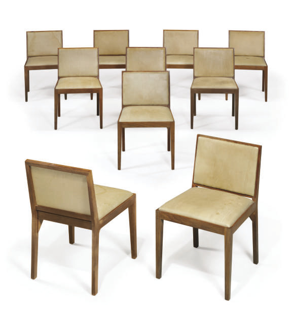 A SET OF TEN WALNUT DINING CHAIRS,