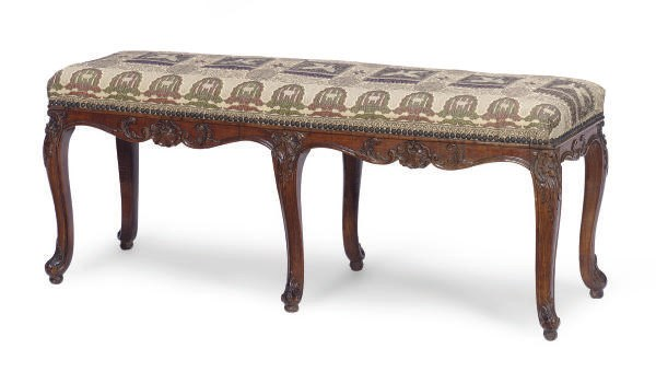 A FRENCH BEECHWOOD BENCH,
