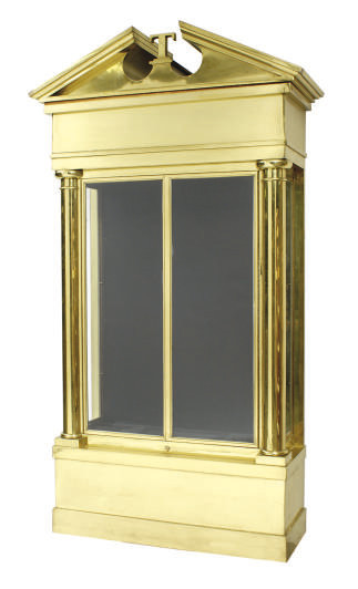 A LARGE BRASS, STEEL AND GLASS