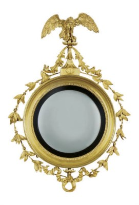 A REGENCY FIGURAL CONVEX MIRRO