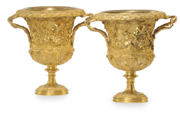 A PAIR OF FRENCH ORMOLU URNS,