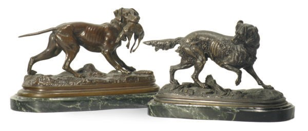 TWO FRENCH PATINATED BRONZE FI
