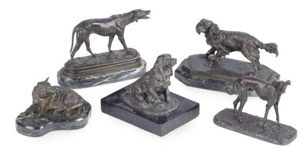A GROUP OF FIVE PATINATED BRON