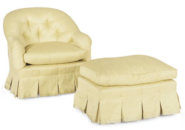 A YELLOW UPHOLSTERED LOUNGE CH