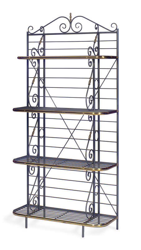 A STEEL AND BRASS BAKER'S RACK