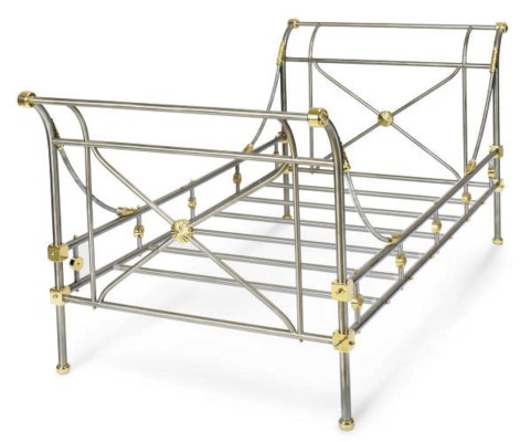 A STEEL AND BRASS CAMPAIGN BED