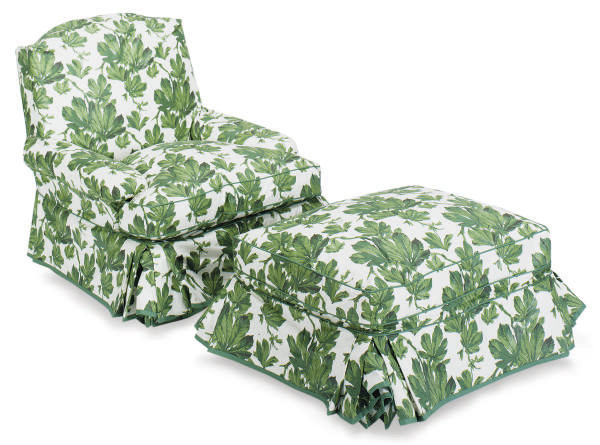 A GREEN AND WHITE CHINTZ UPHOL