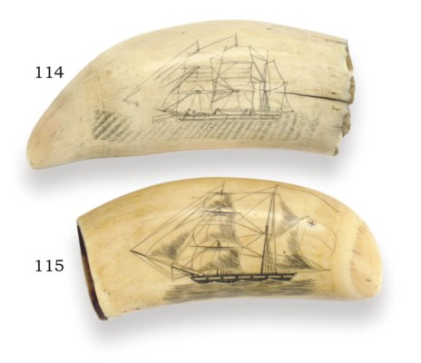 A double sided scrimshaw whale